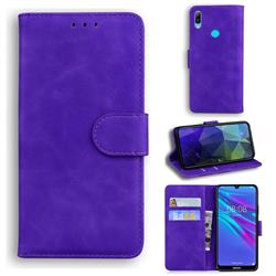 Retro Classic Skin Feel Leather Wallet Phone Case for Huawei Y6 (2019) - Purple
