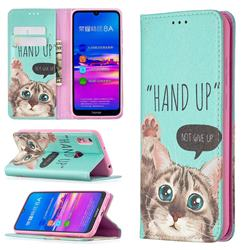 Hand Up Cat Slim Magnetic Attraction Wallet Flip Cover for Huawei Y6 (2019)