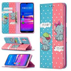 Elephant Boy and Girl Slim Magnetic Attraction Wallet Flip Cover for Huawei Y6 (2019)