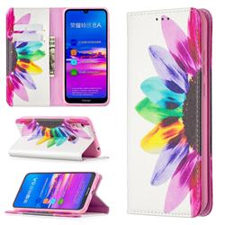 Sun Flower Slim Magnetic Attraction Wallet Flip Cover for Huawei Y6 (2019)