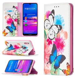 Flying Butterflies Slim Magnetic Attraction Wallet Flip Cover for Huawei Y6 (2019)