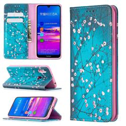 Plum Blossom Slim Magnetic Attraction Wallet Flip Cover for Huawei Y6 (2019)