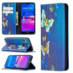 Gold Butterfly Slim Magnetic Attraction Wallet Flip Cover for Huawei Y6 (2019)