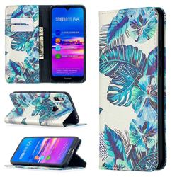 Blue Leaf Slim Magnetic Attraction Wallet Flip Cover for Huawei Y6 (2019)