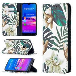 Flower Leaf Slim Magnetic Attraction Wallet Flip Cover for Huawei Y6 (2019)