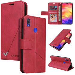 GQ.UTROBE Right Angle Silver Pendant Leather Wallet Phone Case for Huawei Y6 (2019) - Red