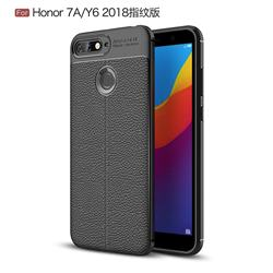 Luxury Auto Focus Litchi Texture Silicone TPU Back Cover for Huawei Y6 (2018) - Black