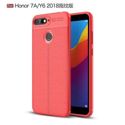 Luxury Auto Focus Litchi Texture Silicone TPU Back Cover for Huawei Y6 (2018) - Red