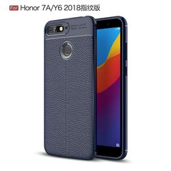 Luxury Auto Focus Litchi Texture Silicone TPU Back Cover for Huawei Y6 (2018) - Dark Blue