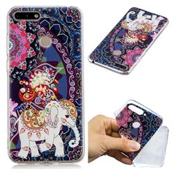 Totem Flower Elephant Super Clear Soft TPU Back Cover for Huawei Y6 (2018)
