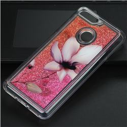Lotus Glassy Glitter Quicksand Dynamic Liquid Soft Phone Case for Huawei Y6 (2018)