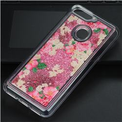 Rose Flower Glassy Glitter Quicksand Dynamic Liquid Soft Phone Case for Huawei Y6 (2018)