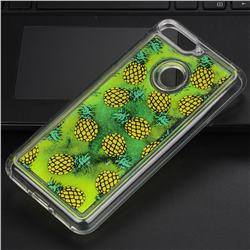 Pineapple Glassy Glitter Quicksand Dynamic Liquid Soft Phone Case for Huawei Y6 (2018)
