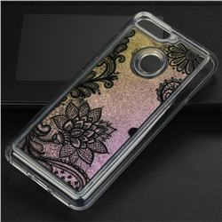 Diagonal Lace Glassy Glitter Quicksand Dynamic Liquid Soft Phone Case for Huawei Y6 (2018)