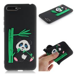 Panda Eating Bamboo Soft 3D Silicone Case for Huawei Y6 (2018) - Black
