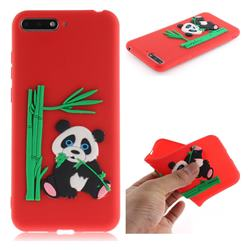 Panda Eating Bamboo Soft 3D Silicone Case for Huawei Y6 (2018) - Red