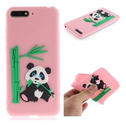 Panda Eating Bamboo Soft 3D Silicone Case for Huawei Y6 (2018) - Pink