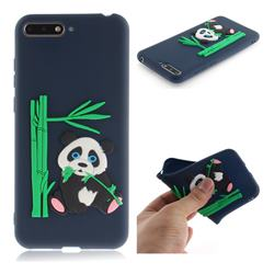 Panda Eating Bamboo Soft 3D Silicone Case for Huawei Y6 (2018) - Dark Blue