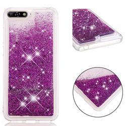 Dynamic Liquid Glitter Quicksand Sequins TPU Phone Case for Huawei Y6 (2018) - Purple