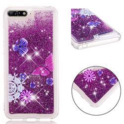 Purple Flower Butterfly Dynamic Liquid Glitter Quicksand Soft TPU Case for Huawei Y6 (2018)