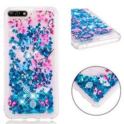 Blue Plum Blossom Dynamic Liquid Glitter Quicksand Soft TPU Case for Huawei Y6 (2018)