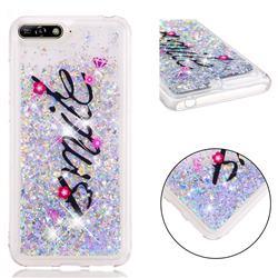 Smile Flower Dynamic Liquid Glitter Quicksand Soft TPU Case for Huawei Y6 (2018)