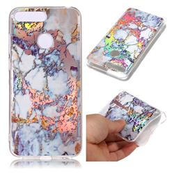 Gold Plating Marble Pattern Bright Color Laser Soft TPU Case for Huawei Y6 (2018)