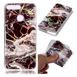 White Black Marble Pattern Bright Color Laser Soft TPU Case for Huawei Y6 (2018)