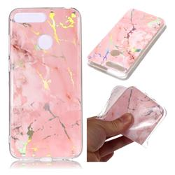 Powder Pink Marble Pattern Bright Color Laser Soft TPU Case for Huawei Y6 (2018)