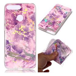 Purple Marble Pattern Bright Color Laser Soft TPU Case for Huawei Y6 (2018)