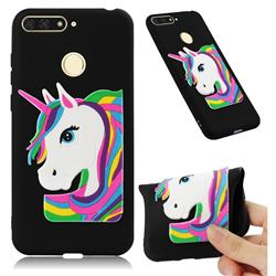 Rainbow Unicorn Soft 3D Silicone Case for Huawei Y6 (2018) - Black