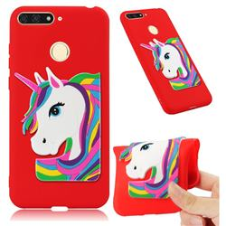 Rainbow Unicorn Soft 3D Silicone Case for Huawei Y6 (2018) - Red