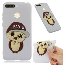 Bad Boy Owl Soft 3D Silicone Case for Huawei Y6 (2018) - Translucent White