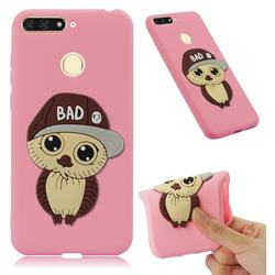 Bad Boy Owl Soft 3D Silicone Case for Huawei Y6 (2018) - Pink