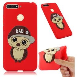 Bad Boy Owl Soft 3D Silicone Case for Huawei Y6 (2018) - Red