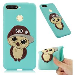 Bad Boy Owl Soft 3D Silicone Case for Huawei Y6 (2018) - Sky Blue