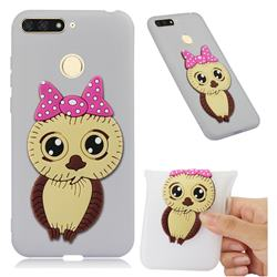 Bowknot Girl Owl Soft 3D Silicone Case for Huawei Y6 (2018) - Translucent White