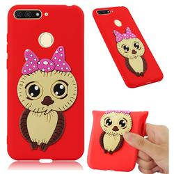 Bowknot Girl Owl Soft 3D Silicone Case for Huawei Y6 (2018) - Red