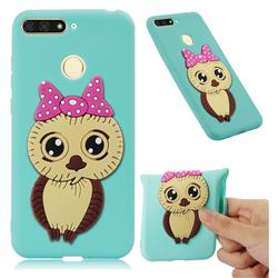 Bowknot Girl Owl Soft 3D Silicone Case for Huawei Y6 (2018) - Sky Blue