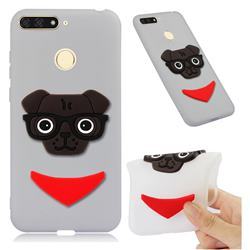 Glasses Dog Soft 3D Silicone Case for Huawei Y6 (2018) - Translucent White