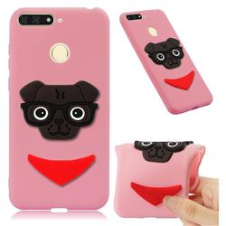 Glasses Dog Soft 3D Silicone Case for Huawei Y6 (2018) - Pink