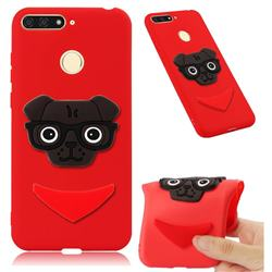 Glasses Dog Soft 3D Silicone Case for Huawei Y6 (2018) - Red