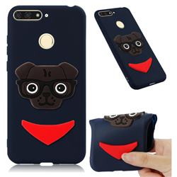 Glasses Dog Soft 3D Silicone Case for Huawei Y6 (2018) - Navy