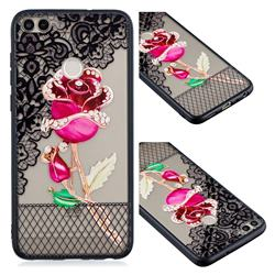 Rose Lace Diamond Flower Soft TPU Back Cover for Huawei Y6 (2018)