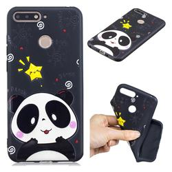 Cute Bear 3D Embossed Relief Black TPU Cell Phone Back Cover for Huawei Y6 (2018)