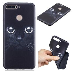 Bearded Feline 3D Embossed Relief Black TPU Cell Phone Back Cover for Huawei Y6 (2018)