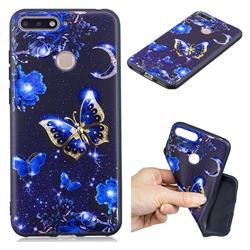 Phnom Penh Butterfly 3D Embossed Relief Black TPU Cell Phone Back Cover for Huawei Y6 (2018)