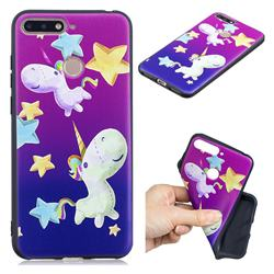 Pony 3D Embossed Relief Black TPU Cell Phone Back Cover for Huawei Y6 (2018)