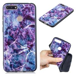 Marble 3D Embossed Relief Black TPU Cell Phone Back Cover for Huawei Y6 (2018)