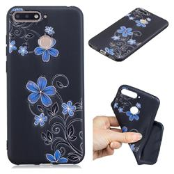 Little Blue Flowers 3D Embossed Relief Black TPU Cell Phone Back Cover for Huawei Y6 (2018)